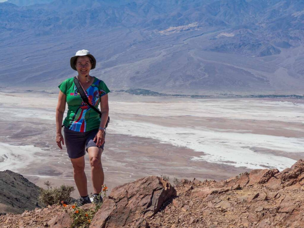 Dante's View in Death Valley. Woman on mountain