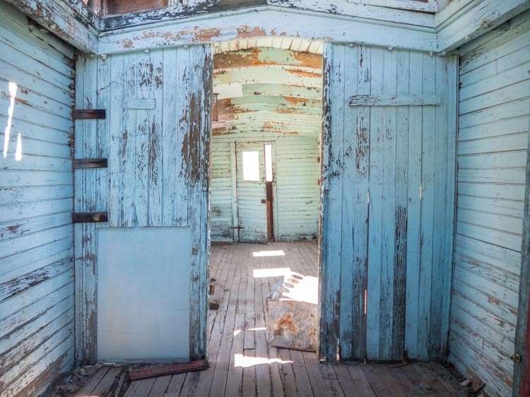 Death Valley Rhyolite ghost town rail car