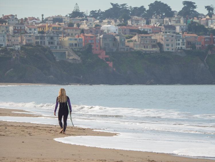 San Francisco photography: Surfer at Baker Beach in San Francisco