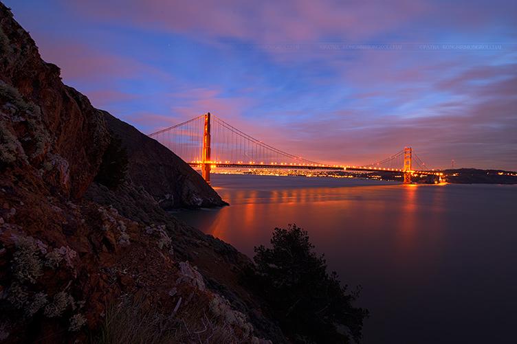 Hawk Hill overlooking San Francisco at night