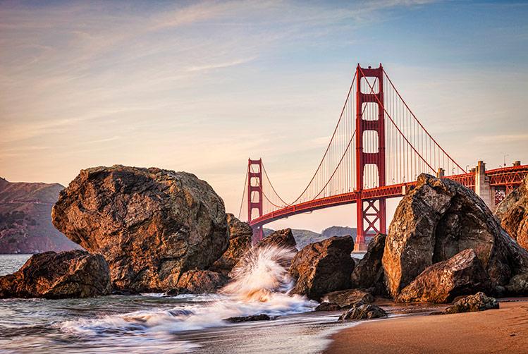 Marshall Beach in San Francisco. Golden gate bridge and surf