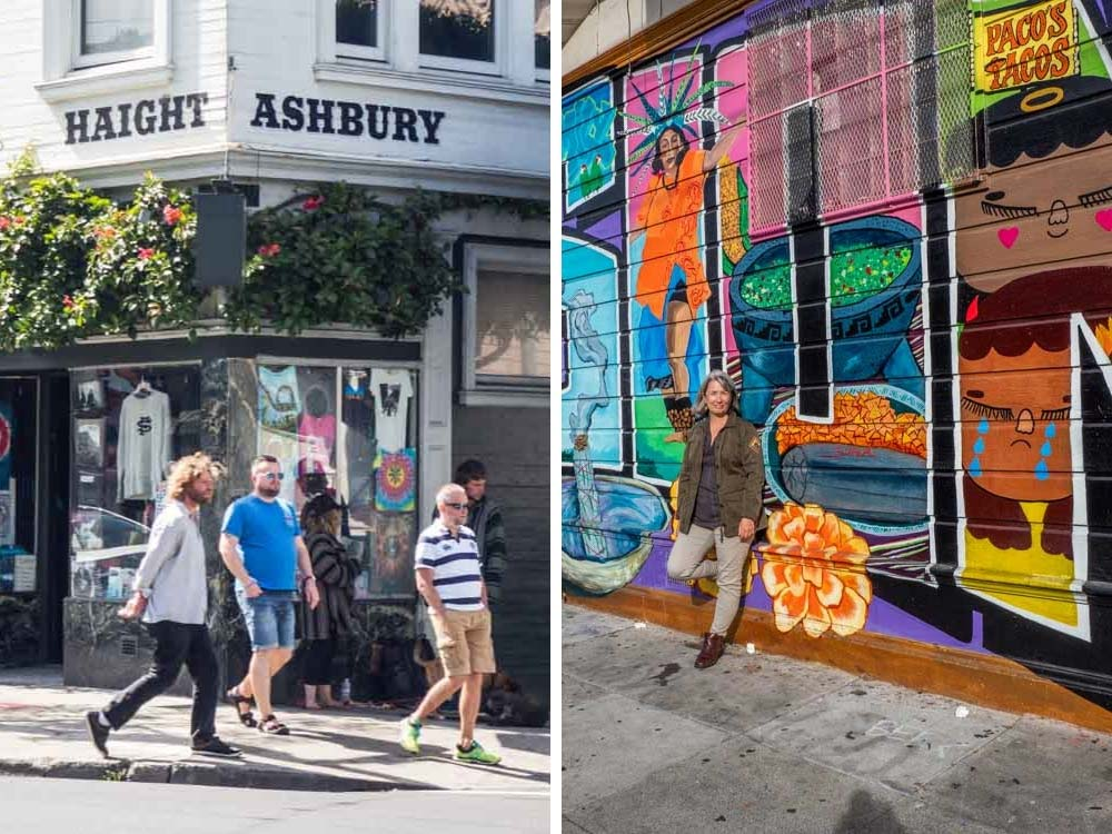 Where to stay in San Francisco Neighborhoods: Height Ashbury corner and Mission mural