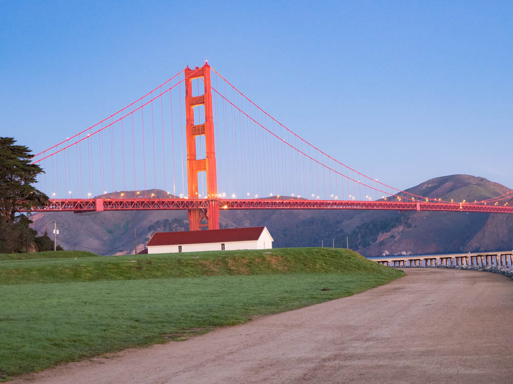 Views of Golden Gate Bridge Dawn Crissy Field