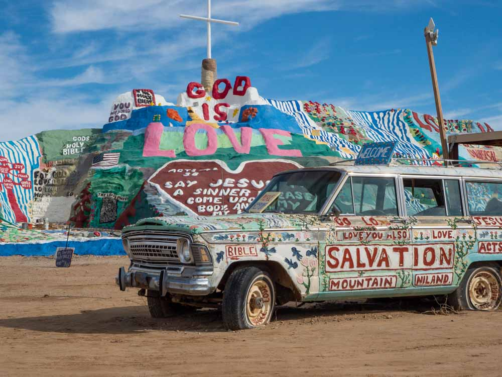 Salvation Mountain in Slab City, CA- sculpture with car