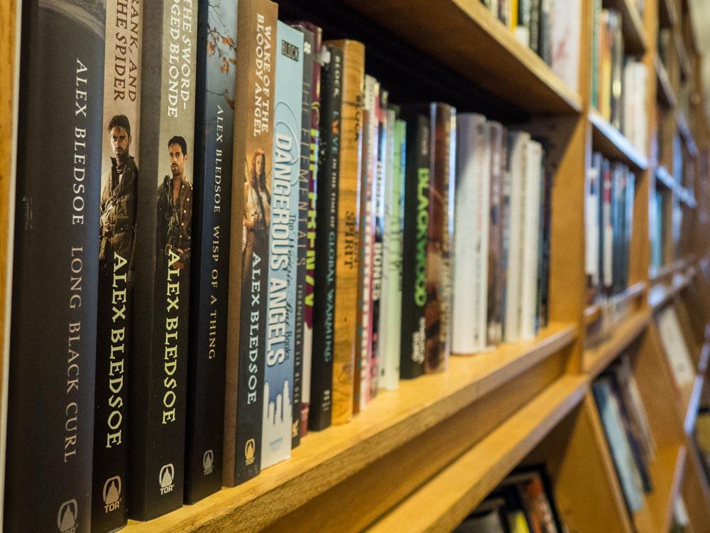 Borderlands Books SF Mission. Shelf of fantasy books.