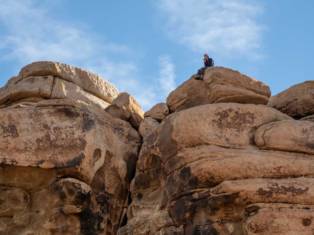 Hidden Valley Loop rock climber Joshua Tree NP