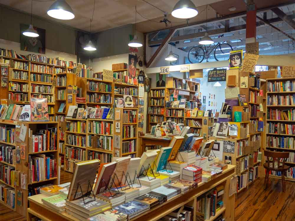 SF Alley Cat books- independent bookstore. Shelves of books