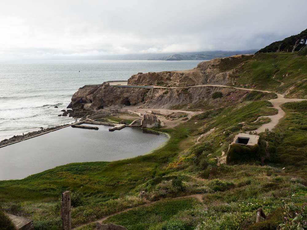 Unique places in San Francisco: Sutro Baths. Cliffside overlook