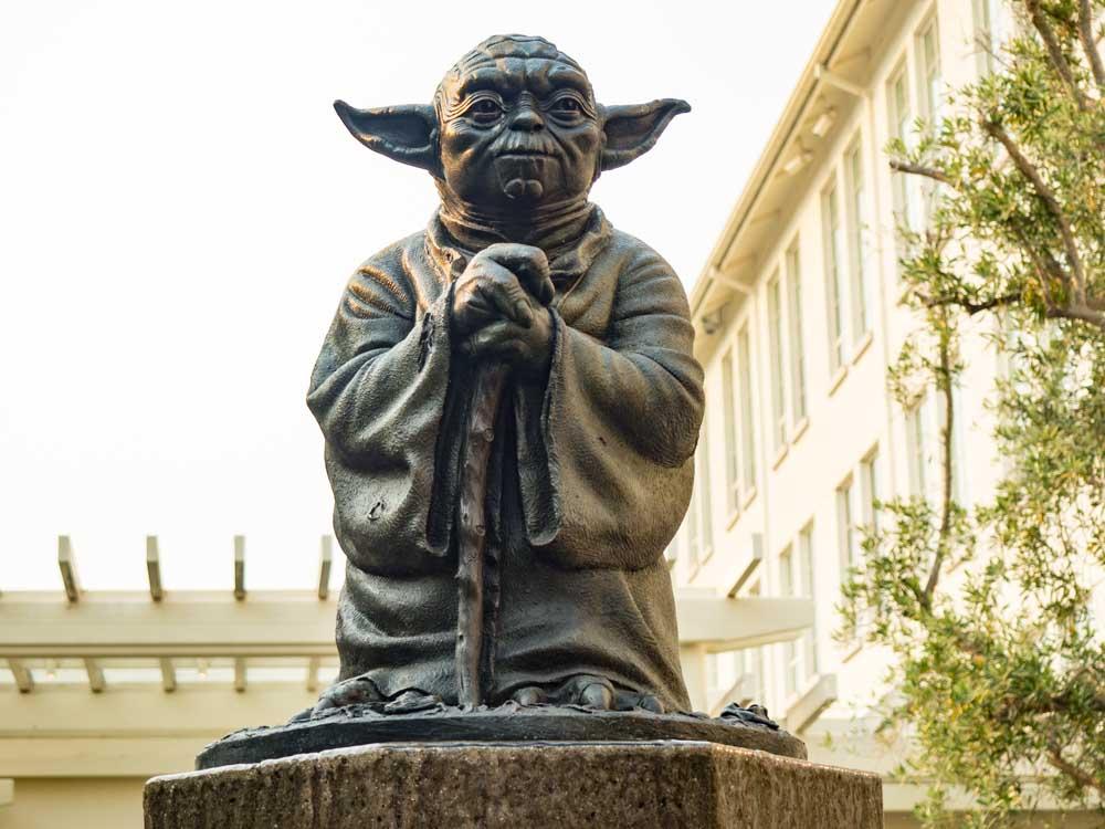 Yoda statues in San Francisco's Presidio Lucas studios