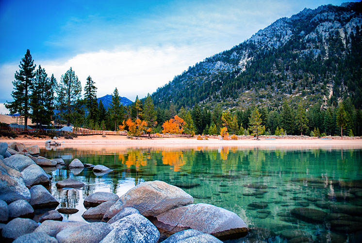 Lake Tahoe view in the fall