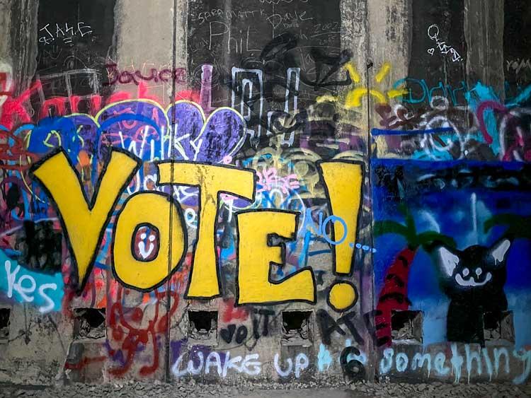 Donner Summit tunnels graffiti VOTE