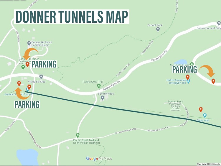 Map to Donner Tunnels in California near lake Tahoe