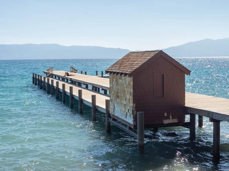 Lake Tahoe Sugar Pine State Park boat house on lake