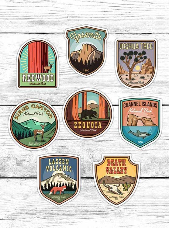 California gifts national park stickers