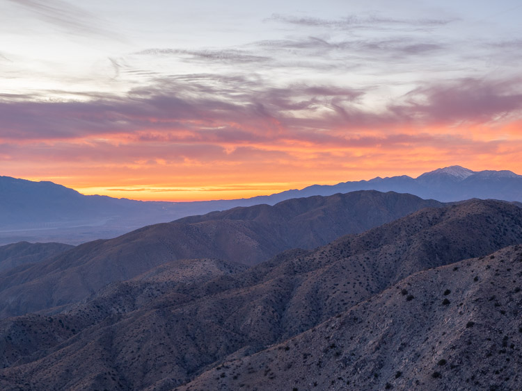 facts about Joshua Tree national park: keys view sunset