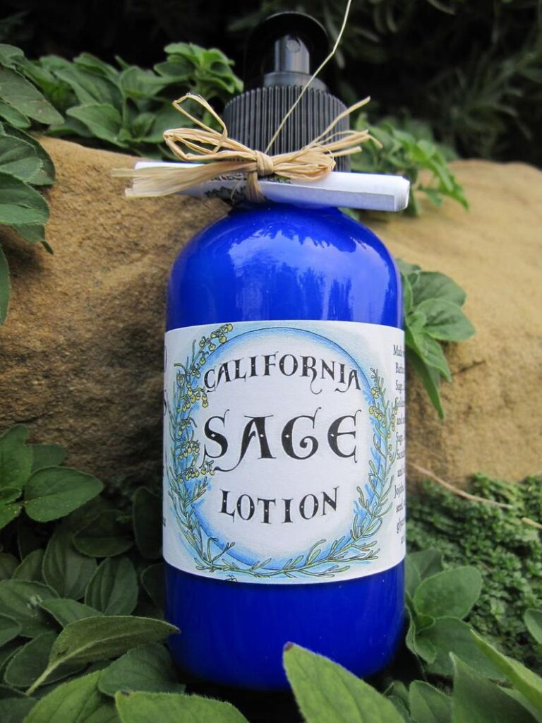 california gift: sage lotion in purple bottle