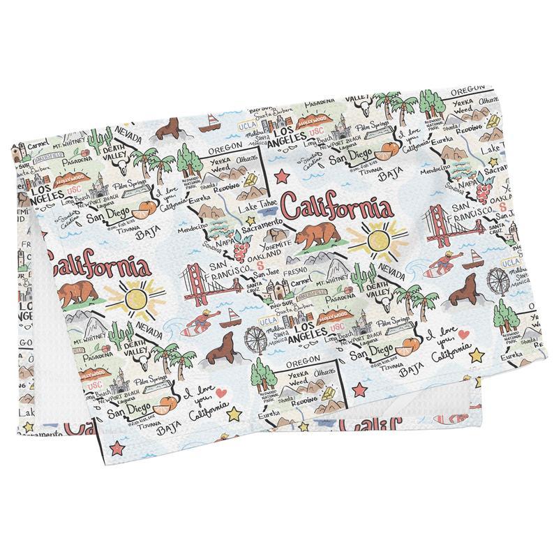 California themed tea towel