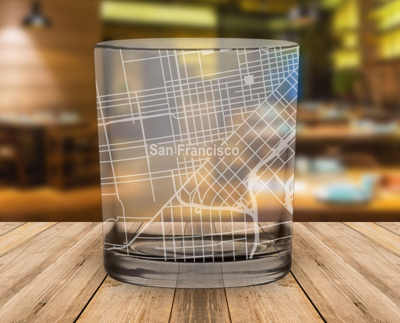 Lowball whiskey glass with San Francisco Map