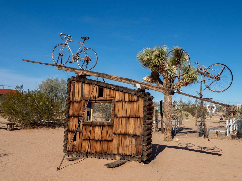 Joshua Tree Noah Purafoy sculpture museum- wood shed and bike