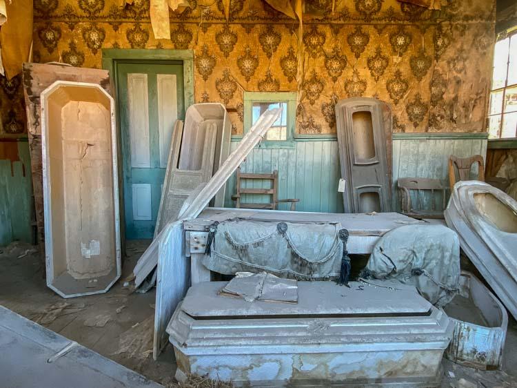 Bodie state park morgue building interior