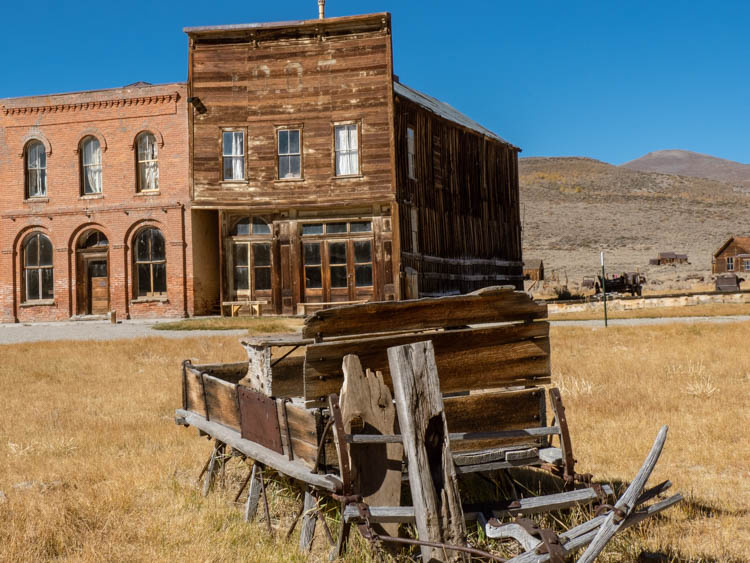 Bodie state park saloon and post office with foreground wagon