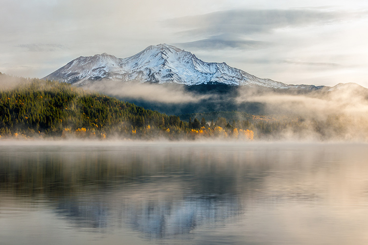 Mount Shasta California-volcano and misty lake