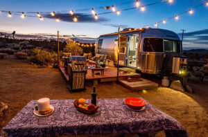 Joshua Tree glamping magical airstream at night