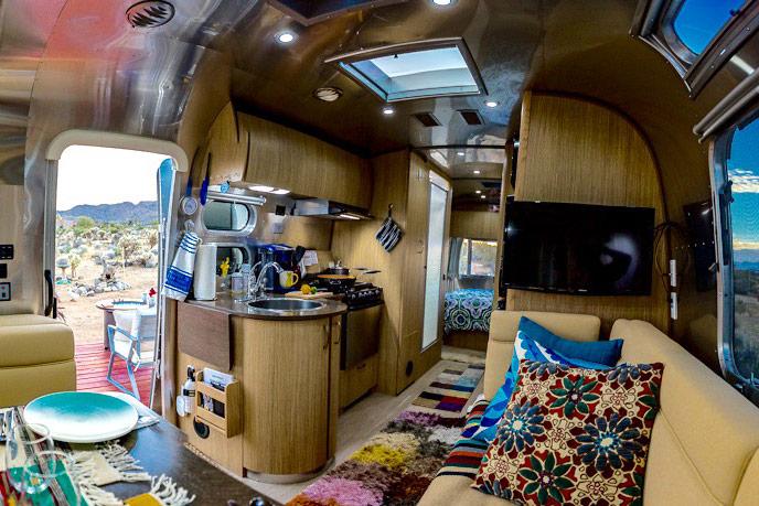 Joshua Tree glamping trailer Magical Airstream interior