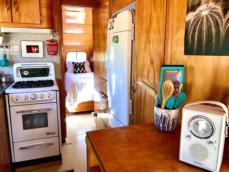Joshua Tree glamping trailer Silver Belle interior