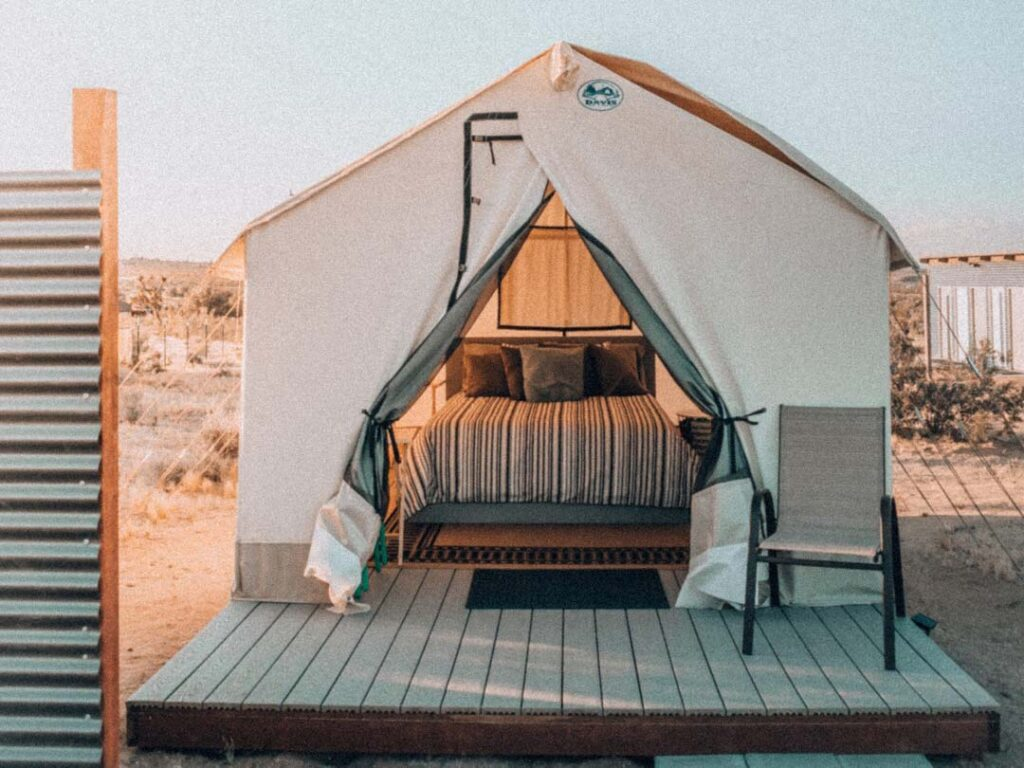 Joshua Tree glamping tents on airbnb