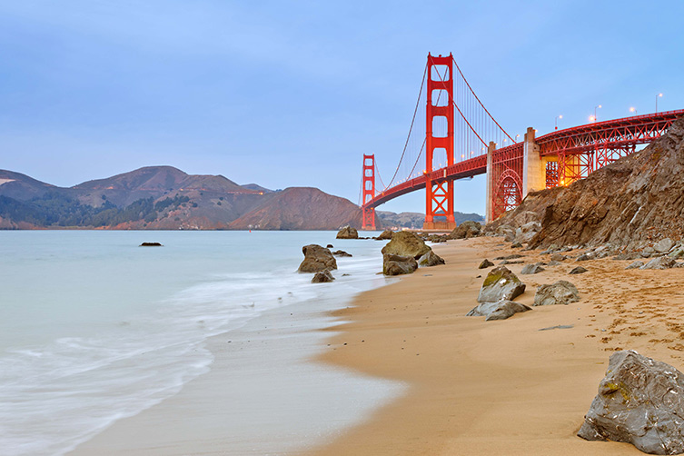 Golden Gate Bridge facts: view from baker beach