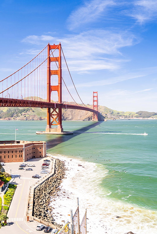 Facts about the Golden Gate Bridge: View above Fort Point