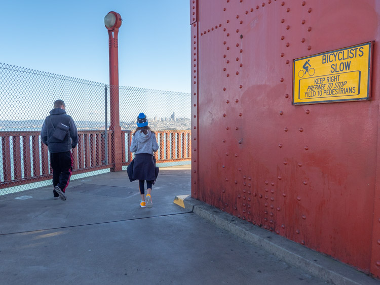 Walking the Golden Gate Bridge- 2 people