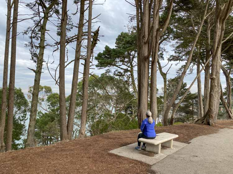 San Francisco's Lands End bench with view