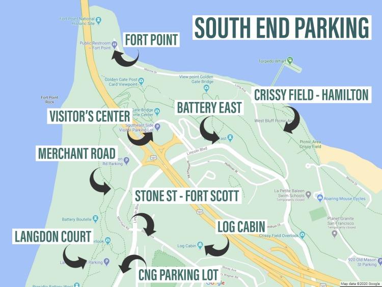 Golden Gate Bridge Parking Map- San Francisco
