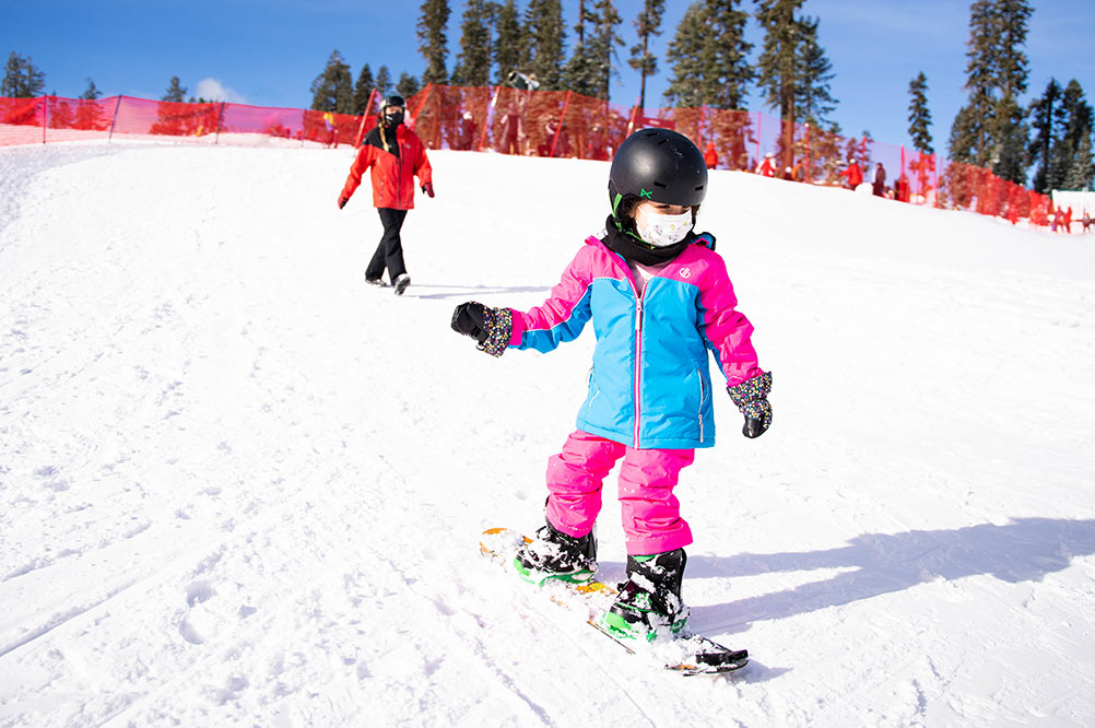 Ski Resort Beginners Tahoe- Sierra at Tahoe . kid skiing