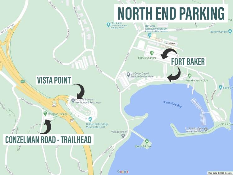 Parking for Golden Gate Bridge north side map