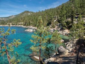 Emerald Bay Scenic Lake Tahoe Drive lake and pine trees
