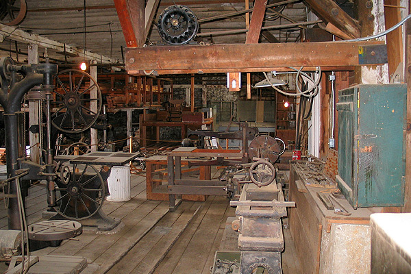 Empire Mine State Park in California old metal shop with tools