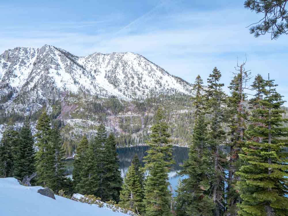 Lake Tahoe in winter Emerald Bay. lake, snow and pines