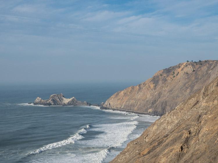 Devil's Slide coastline hike landscape. Cliffs and ocean.
