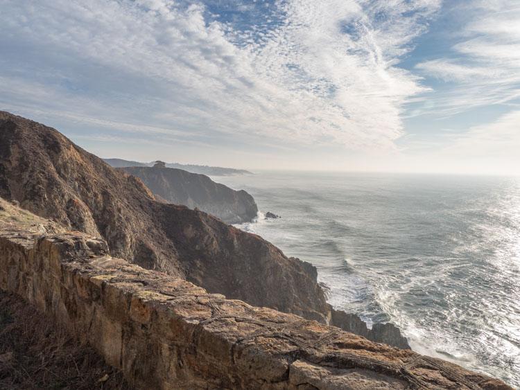 Devil's Slide landscape to south. cliff and ocean