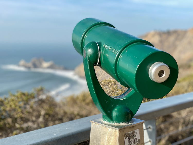 California Devil's Slide trail green viewing scope