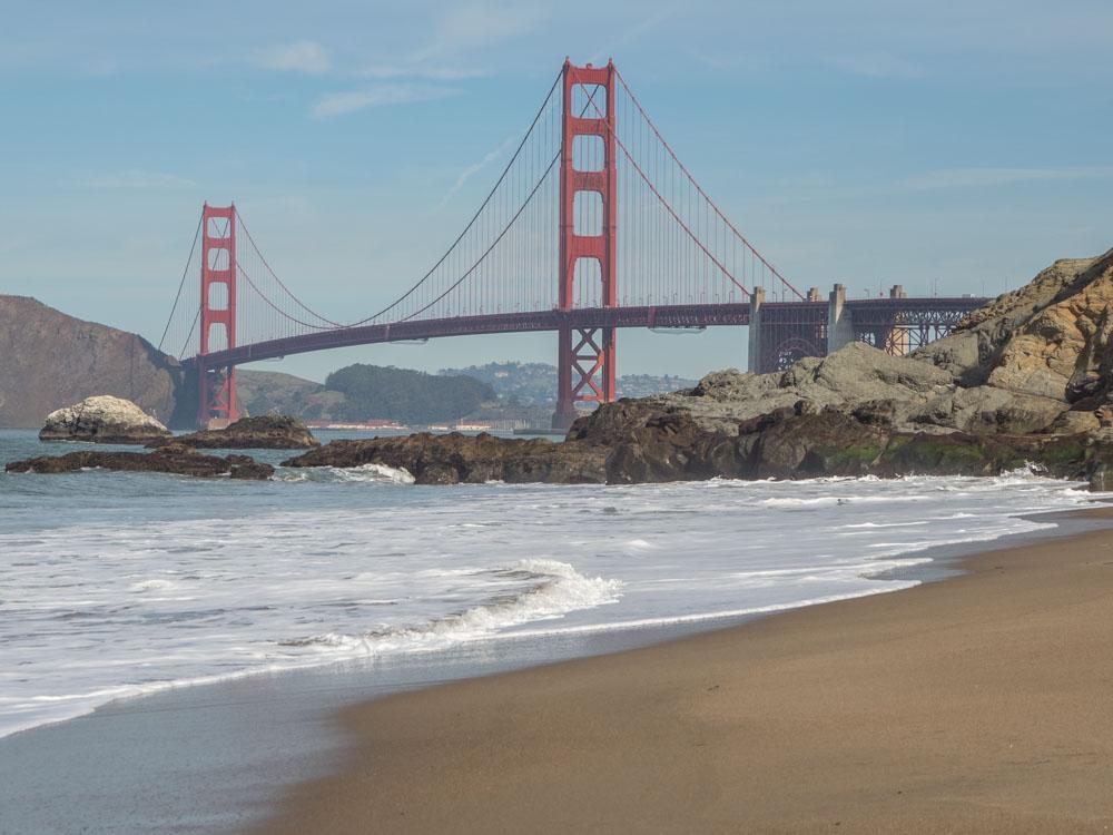 Golden Gate bridge view from Baker Beach San Francisco