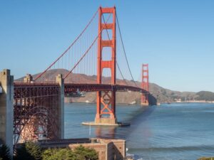 Visit the Golden Gate Bridge San Francisco. Red bridge over water