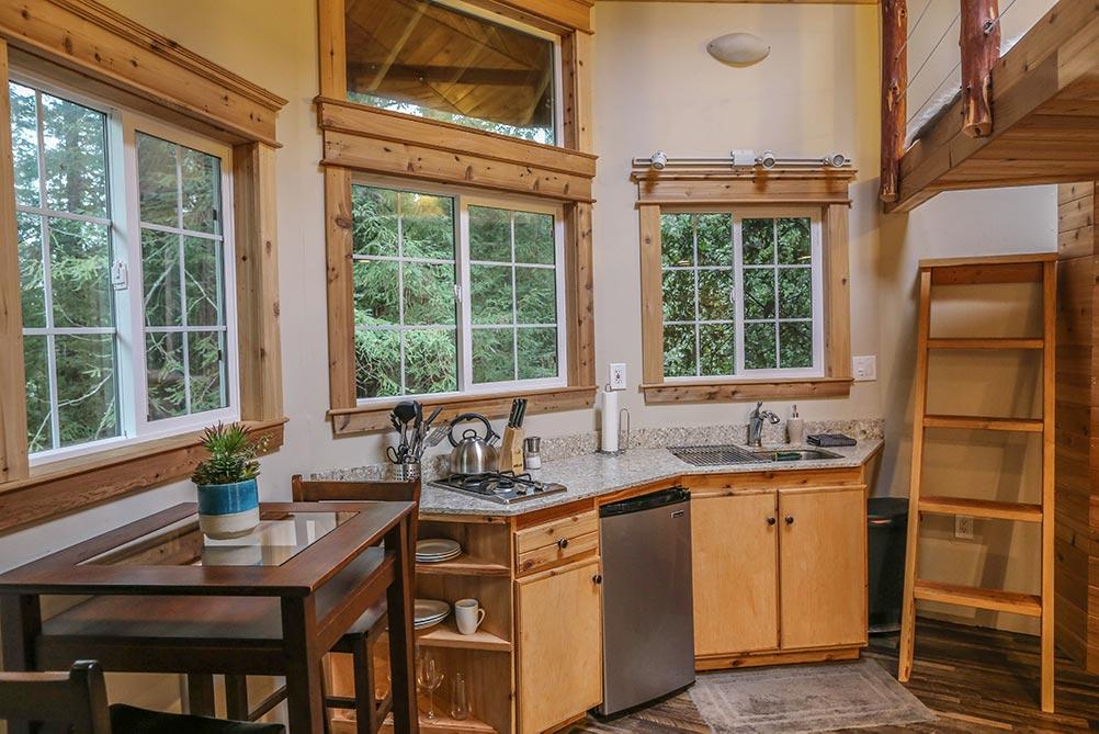 Cedar cabin in Santa Cruz. kitchen interior with wood accents