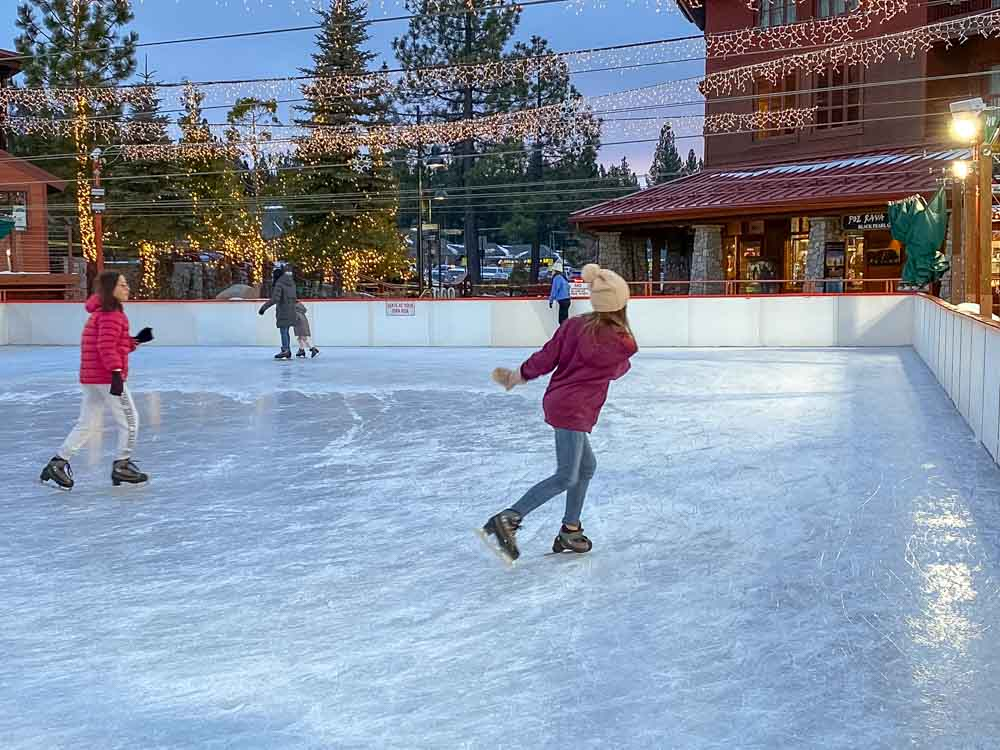 South Lake Tahoe for non skiers ice skating at Heavenly base
