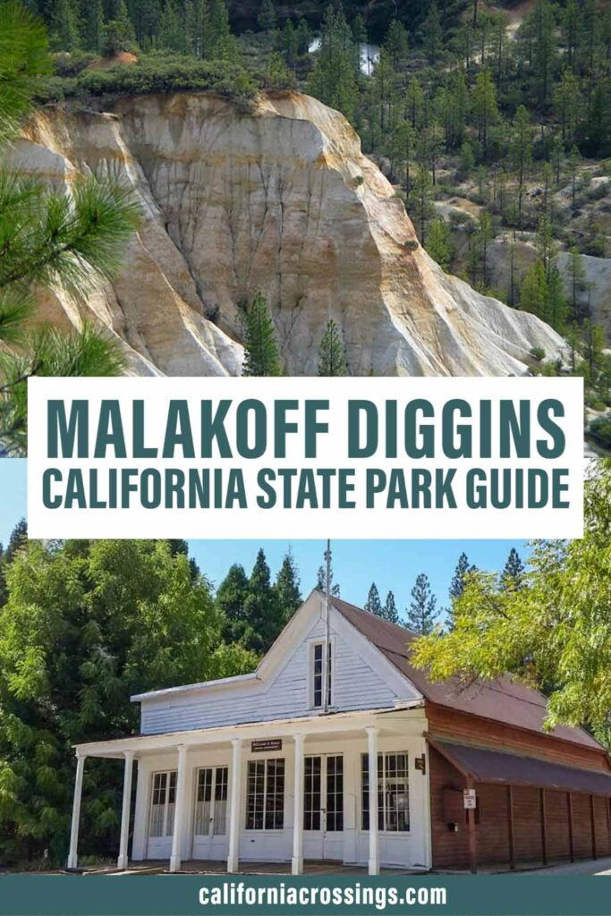 Malakoff Diggins california state park guide. white historic building and cliff landscape