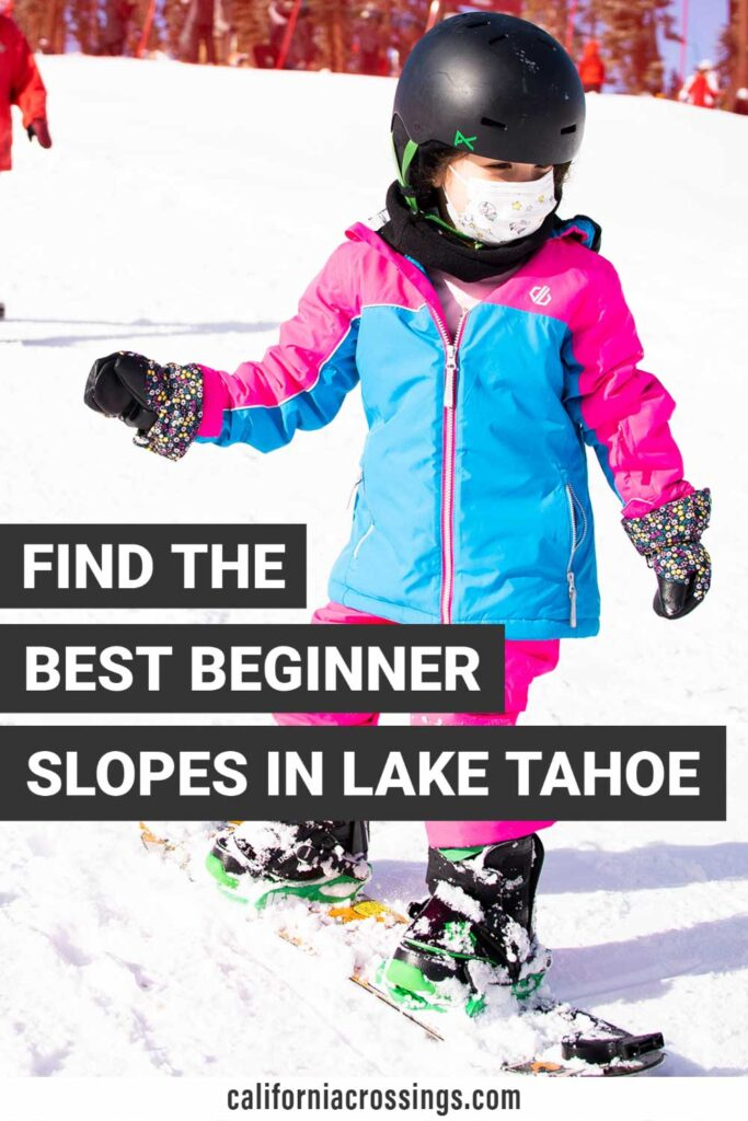 Beginner skiing slopes in Lake Tahoe. child snowboarding
