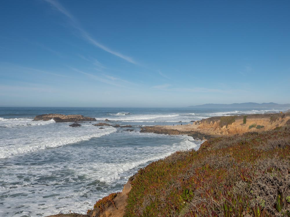 Pescadero state beach view from cliff. sandy beach and grasses